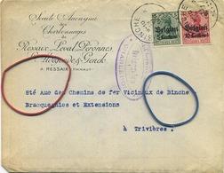 Old Enveloppe : Charbonages De Ressaix-Leval-Péronnes ( 2 Scans )  Binche ( Timbres Deutches Reich ) - Entiers Postaux