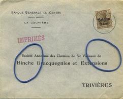 Old Enveloppe : Société Anonyme Des Chemins De Fer Vicinaux De BINCHE Bracquegnies .... (  Timbre Deutches Reich ) - Entiers Postaux