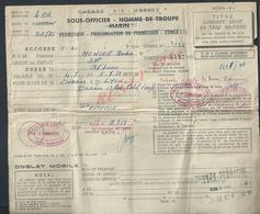 AVIATION PERMISSION SOUS OFFICIER DE L AIR À Mr MONIER ANDRÉ TAMPON BATAILLON DE LAIR AULNAT 1953 & CLERMONT FERRAND : - Aviation