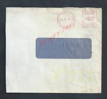 EMA LETTRE SUR VARIETÉ EMPREINTE TYPE TRAIT JAUNE ESSAIE DE  MACHINE 1974 OB PARIS CLIGNANCOURT - Variedades Y Curiosidades