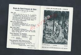RELIGION PETIT CALENDRIER DE 1965 OEUVRE DE SAINT FRANÇOIS DE SALES : - Calendriers