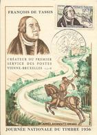 Carte Maximum Fdc, France, N°1054 Yt, Journée Du Timbre 1956, François De Tassis, Courrier à Cheval, Amiens - Maximumkarten