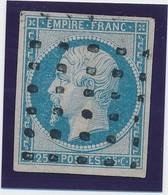 25 C Bleu Laiteux N° 15 Obl Gros Points Signé Calves Et Roumet TB. - 1853-1860 Napoléon III