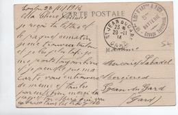 """1914 - CP FM Avec CACHET """"10° REGIMENT D'ARTILLERIE A PIED / 5° BATTERIE"""" Pour SAINT JEAN DU GARD - Marcophilie (Lettres)"""
