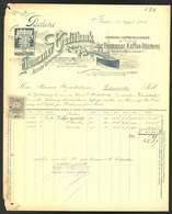 Rechnung Fiume 1901, Fiumaner Creditbank AG, Dampfer Am Hafenquai, Schutzmarke Coffea - Rechnungen