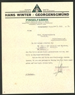 Briefkopf Georgensgmünd 1931, Pinselfabrik Hans Winter, Firmenlogo - Germany