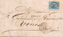 Lettre Du 16 Février 1866 De Lons- Le- Saunier LGC 2082 Pour Voiron TP N° 22 - Marcophilie (Lettres)
