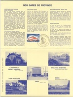 France Rep. Française 1975 Encartage - Gares De Province / Railway Station / Bahnhof / Treinstation - Trains