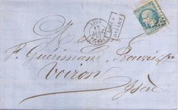 Enveloppe Du 12 Janvier 1867 De Lyon Pour Voiron TP N° 22 Cachet Après Le Départ - Marcophilie (Lettres)