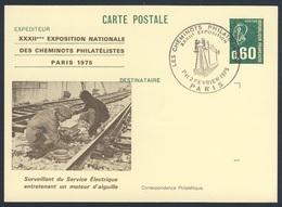 France Rep. Française 1975 Card / Karte / Carte Postale - Surveillant Service Électrique / Elec. Service Supervisor - Treinen