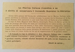 REGIA MARINA - IL DIRITTO DI CONSERVARE IL COMANDO SUPREMO IN ADRIATICO  NV FP - Guerra 1914-18