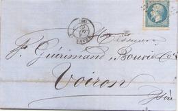 Enveloppe Du 8 Janvier 1867 De Chambéry Pour Voiron TP N° 22 - Storia Postale