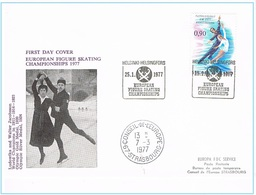 Helsingfors Helsinki 25.1.1977 European Figure Skating Championships Champ. D'Europe De Patinage Artistique + Strasbourg - Lettres & Documents