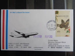 1er VOL AIR FRANCE AF 287 - SEOUL-PARIS A 340 - Postmark Collection (Covers)