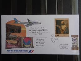 MISE EN LIGNE A 340 AIR FRANCE SUR VOLS REGULIERS SEOUL - Postmark Collection (Covers)
