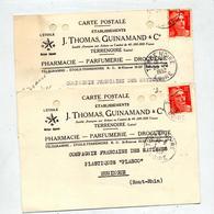 Carte Cachet Terrenoire Sur Gandon Entete Parfumerie Thomas - Postmark Collection (Covers)
