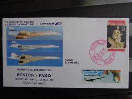 21/22 MAI 1989 PREMIER VOL PRESIDENTIEL BOSTON-PARIS CONCORDE FBVFC - Correo Aéreo