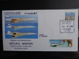 20 MAI 1989 PREMIER VOL PRESIDENTIEL OTTAWA- BOSTON CONCORDE FBVFC - Correo Aéreo