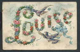 +++  CPA - Carte Fantaisie - Prénom LOUISE - Oiseau - Dorure - Fleur Rose Myosotis - Embossed Relief Gaufrée    // - Prénoms