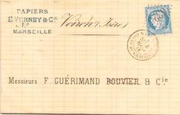 Enveloppe Du 4 Mars 1873 De Marseille Cours Du Chapitre Pour Voiron, LGC 6325, TP N° 60 - Marcophilie (Lettres)