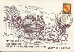Fdc France, N°756  Yt, Exposition Philatélique Nationale Nancy 1948, Lorraine, Malle-poste - FDC