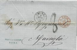 LETTRE 1866 AVEC CACHET D'ENTREE ROUGE E.PONT. 2 PONT.DE.B. 2 - Entry Postmarks