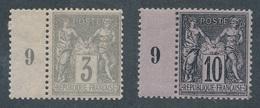 "BZ-261: FRANCE: Lot  ""SAGE"" Neufs N°87*-89* (1/2 Millésime) - 1876-1898 Sage (Type II)"