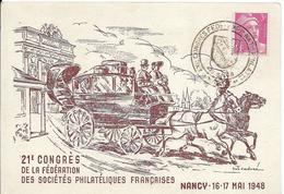 Fdc France, N°806  Yt, Exposition Philatélique Nationale Nancy 1948,marianne, Malle-poste - FDC