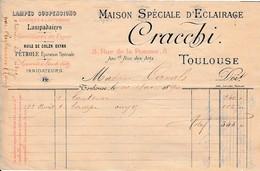 1890 - LAMPISTERIE - Toulouse - Maison Spéciale D'Eclairage - Lampadaires, Lustres & Lanternes - CRACCHI - Documents Historiques
