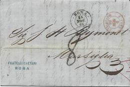 LETTRE 1866 AVEC CACHET D'ENTREE ROUGE E.PONT. MARSEILLE - Entry Postmarks