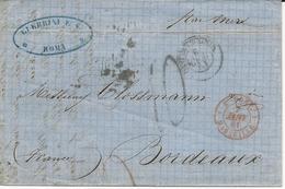 LETTRE 1861 AVEC CACHET D'ENTREE ROUGE E.PONT. MARSEILLE - Marcophilie (Lettres)