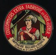 """Ancienne Etiquette Fromage  Coulommiers Extra Fabriqué En Lir Et Cher Fromgerie Haillard & Rabier  Blois """"femme Coiffe"""" - Formaggio"""