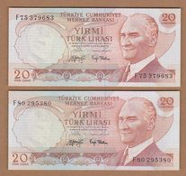 AC  - TURKEY  6th EMISSION  20 TL F 75 & 80 PAIR BOLD AND NORMAL SIGNATURE BOTH UNCIRCULATED - Turquie