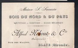 Blaye (33 Gironde) Carte ALFRED REBOUT Bois Du Nord Et Du Pays (PPP12376) - Advertising