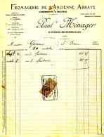 FA 963 -  FACTURE -  FROMAGERIE DE L'ANCIENNE ABBAYE   (27)  PAUL MENAGER ST PIERRE DE CORMEILLES - 1900 – 1949