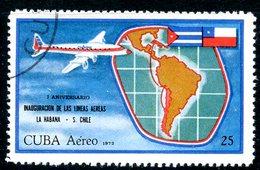 MK140 CUBA 1972 1781 Airmail. 1st Anniversary Of Havana-Santiago De Chile Air Service - Airplanes