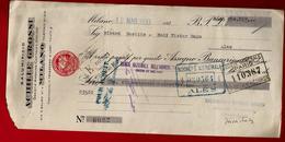 Italie Lettre De Change Salumificio Achille Grossi Milano Milan 12-05-1933 Pour Ribard Bastide Alès - Italie