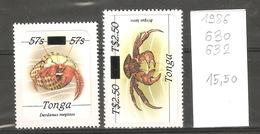 Tonga, 1986, Crustacés, Surchargés - Tonga (1970-...)