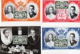 84Vn    Monaco Lot De 4 Cpsm Neuves Rainier Et Grace Timbres Et Cachets - Monaco