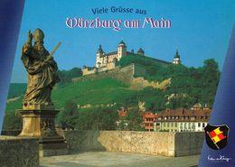 1 AK Germany Bayern * Würzburg - Blick Von Der Alten Mainbrücke Zur Festung Marienberg Mit St. Kilian * - Wuerzburg