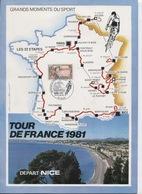 TOUR DE FRANCE 1981: Encart Regroupant 8.cachets Commémoratifs Différents - Marcophilie (Lettres)
