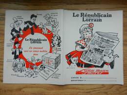 Protège Cahier Illustré JEAN MORETTE Le Républicain Lorrain Est Journal Enfants Chat Chien - Chaussures