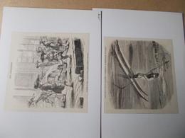 LOT 4 GRAVURES XIXe DONT NATATION PISCINE JEU DE LA CROSSE PODOSCAPHE SORTIE DE COLLEGE Contrecollées - Natation
