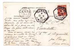 Marcophilie Cachet Morgat 1908 Finistere 29 - Poste Rurale Auxiliaire - Pour Poissy Timbre Semeuse 10c Sur Cpa Camaret - Marcophilie (Lettres)