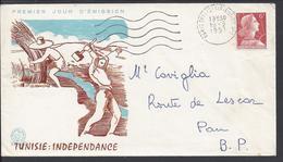 """FR - 1957 - 6 Fr Marianne De Muller N° 1009 A Sur Enveloppe Premier Jour """"Tunisie Indépendance"""" B/TB - - FDC"""