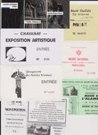 Lot 7 Tickets Entrées Musée, Salons, Expositions, Monte-Carlo, Rodez, Musée Guellala Djerba Tunisie - Tickets - Vouchers