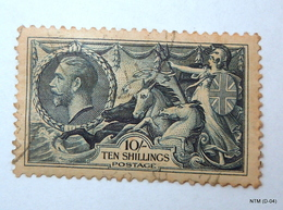 GREAT BRITAIN 1912. 10s. Blue. King George V. Seahorse. SG 452. Very Fine Used. - Used Stamps