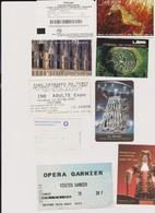 Lot 9 Tickets Entrées Musée, Châteaux, Géode Paris, Loire, Opéra Garnier - Tickets - Vouchers