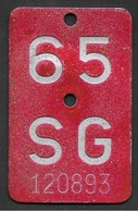 Velonummer St. Gallen SG 65 - Number Plates
