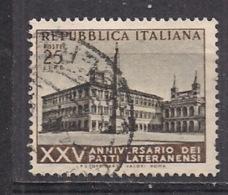 ITALIA  1954 PATTI LATERANENSI SASS. 733 USATO VF - 6. 1946-.. República